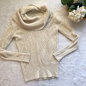 Lucky Brand Cream Open Knit Cowl Sweater